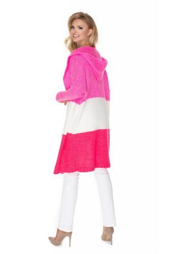 Módny dlhý kardigán s kapucňou v ružovej farbe