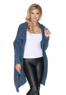 Voľný melanžový sveter v modrej farbe