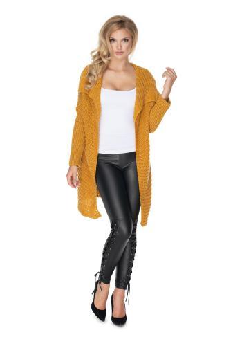Melanžový dámsky sveter v horčicovej farbe