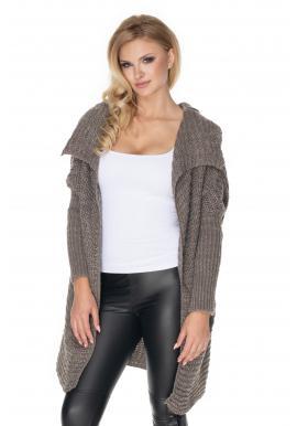 Sivý voľný melanžový sveter pre dámy