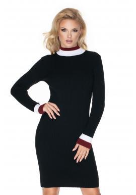 Ceruzkové dámske čierne šaty s dlhým rukávom
