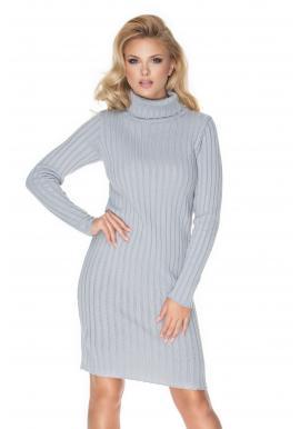 Pletené rolákove šaty s dlhým rukávom sivej farby