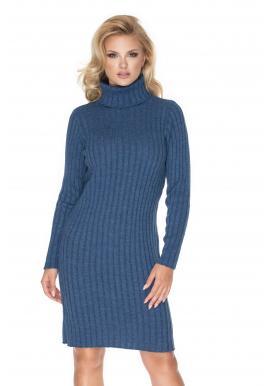 Štýlové pletené šaty s dlhým rukávom v modrej farbe