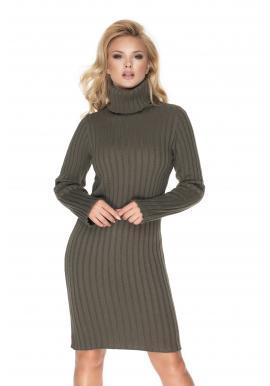 Khaki pletené šaty s dlhým rukávom pre dámy