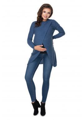 Tehotenský asymetrický sveter v modrej farbe