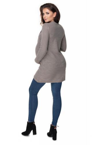 Capuccinový tehotenský asymetrický sveter