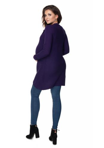 Fialový tehotenský sveter asymetrického strihu