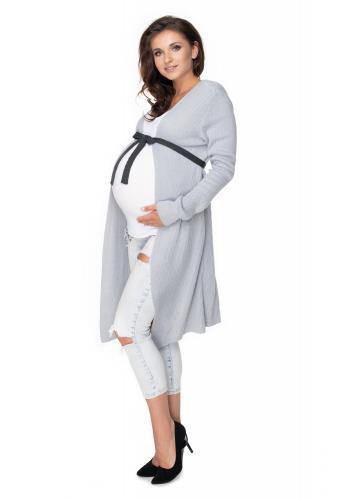 Sivý tehotenský kardigán s opaskom kontrastnej farby