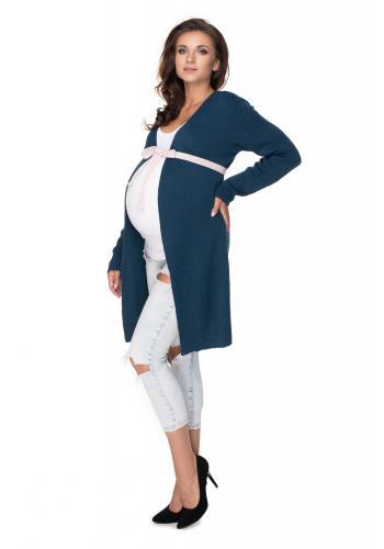 Tehotenský modrý kardigán s opaskom kontrastnej farby