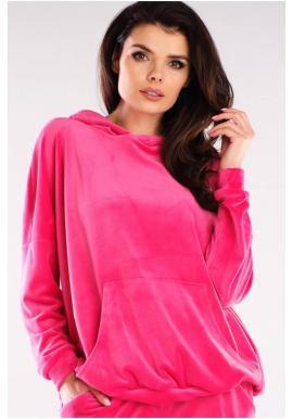 Voľná velúrová dámska mikina ružovej farby s kapucňou
