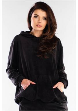 Čierna voľná velúrová mikina s kapucňou pre dámy