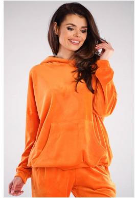 Oranžová voľná velúrová mikina s kapucňou pre dámy