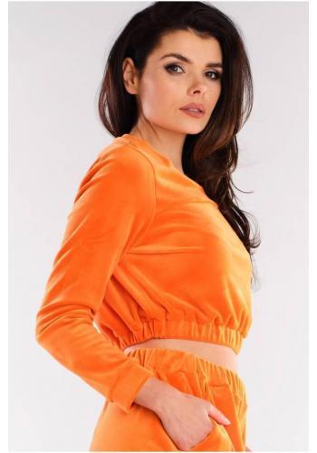 Oranžová krátka velúrová mikina pre dámy