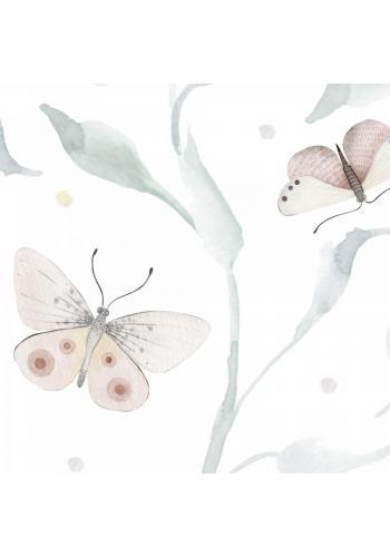 Biela tapeta s motívom motýľov