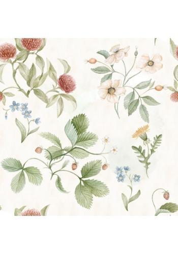 Krémová tapeta na stenu s kvetinovým motívom