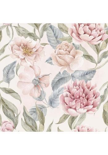 Svetloružová tapeta s pivonkami a ružami