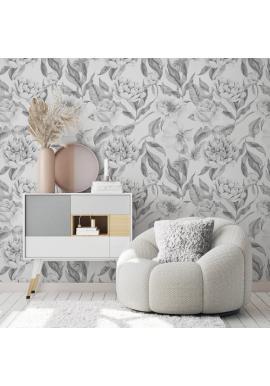 Tapeta na stenu s pivonkami a ružami na svetlosivom pozadí