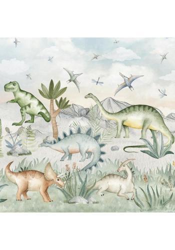 Tapeta so štruktúrou plátna s motívom dinosaurov