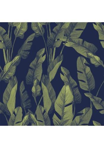 Čierna tapeta na stenu s motívom veľkých zelených listov