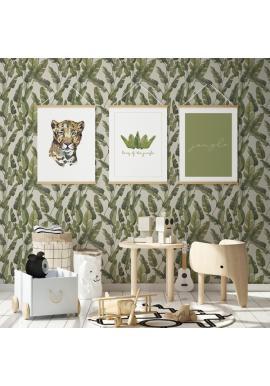 Tapeta na stenu s motívom veľkých pestrých zelených listov