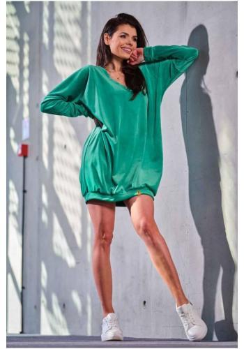 Velúrové voľné dámske šaty zelenej farby s dlhým rukávom