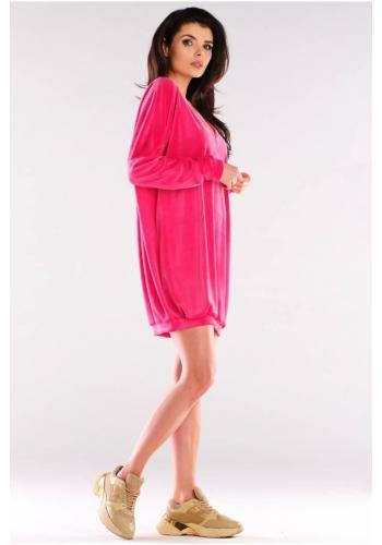 Dámske velúrové voľné šaty s dlhým rukávom v ružovej farbe