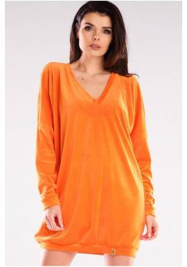 Oranžové velúrové voľné šaty s dlhým rukávom pre dámy