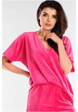 Velúrové dámske tričko ružovej farby s véčkovým výstrihom