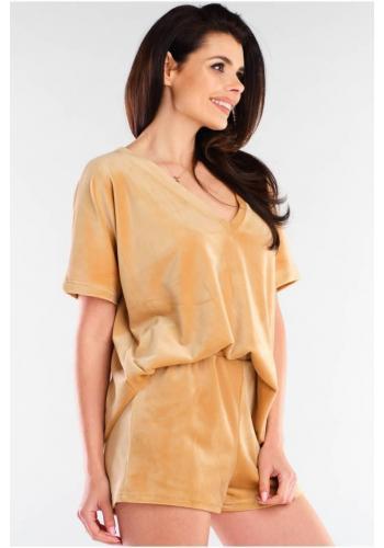 Velúrové dámske tričká béžovej farby s véčkovým výstrihom