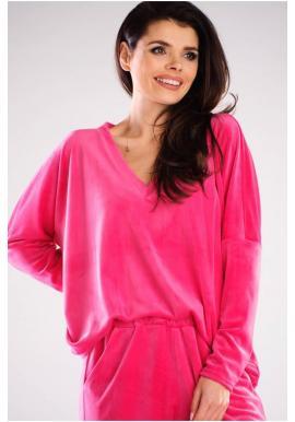 Ružové voľné tričko s véčkovým výstrihom pre dámy