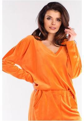 Voľné dámske tričká oranžovej farby s véčkovým výstrihom