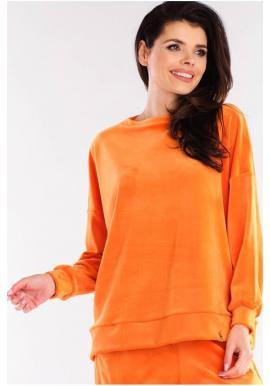 Velúrová dámska oversize mikina oranžovej farby