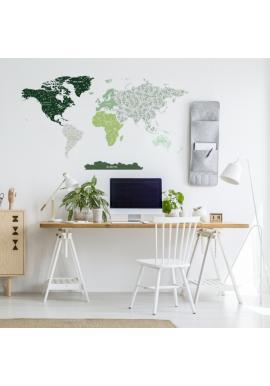 Nálepka na stenu v podobe mapy sveta s motívom lístkov