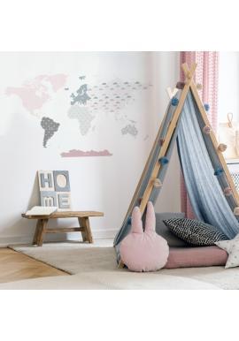 Nástenná nálepka v podobe mapy sveta v ružovej farbe
