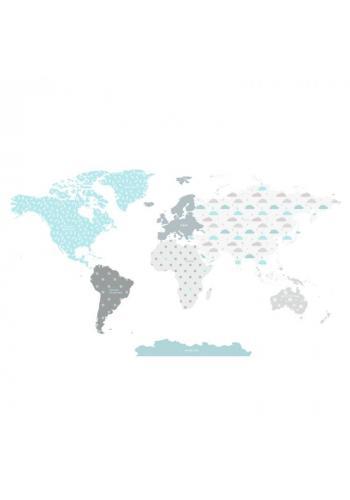 Sada nálepiek v podobe mapy sveta tyrkysovej farby