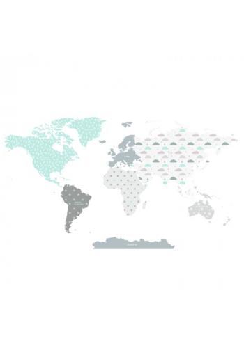 Detská sada nálepiek v podobe mapy sveta s motívom modrých mráčikov