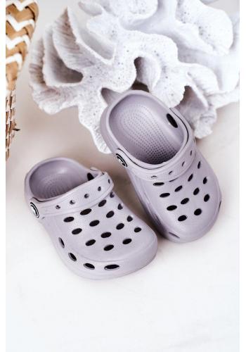 Sivé gumené šľapky pre deti