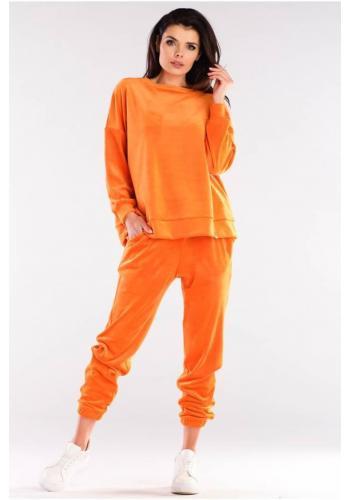 Velúrová dámska oversize súprava oranžovej farby
