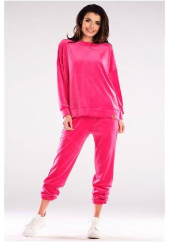 Velúrová dámska oversize súprava v ružovej farbe