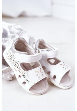 Dievčenské biele sandále na suchý zips