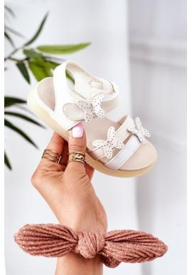 Letné sandále s ozdobnými motýlikmi v bielej farbe