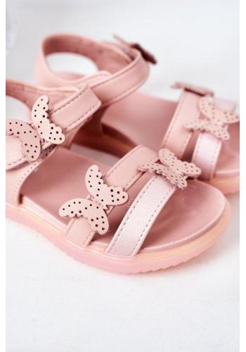 Módne ružové sandále s ozdobnými motýlikmi