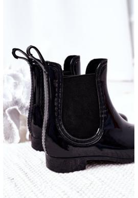 Módne čierne čižmy do dážďa pre dievčatá