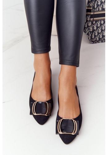 Elegantné semišové balerínky pre dámy v čiernej farbe