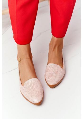 Semišové dámske balerínky v ružovej farbe