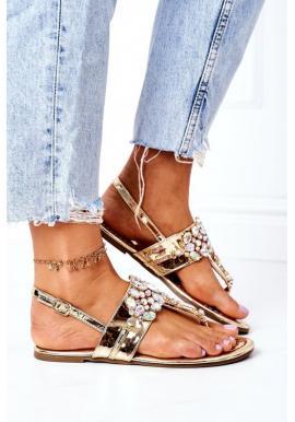 Trendy letné sandále zdobené kryštálmi v zlatej farbe