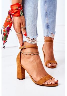 Štýlové dámske sandále na opätku v ťavej farbe