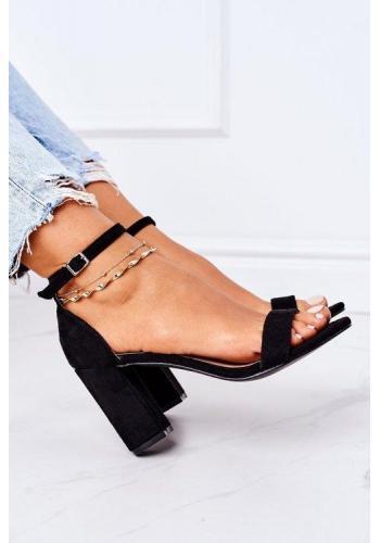 Čierne semišové sandále na opätku pre dámy