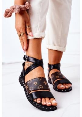 Štýlové dámske sandále čiernej farby s remienkom