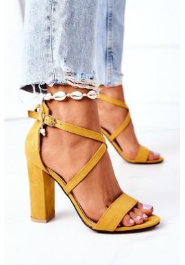Elegantné sandále s remienkami na opätku žltej farby